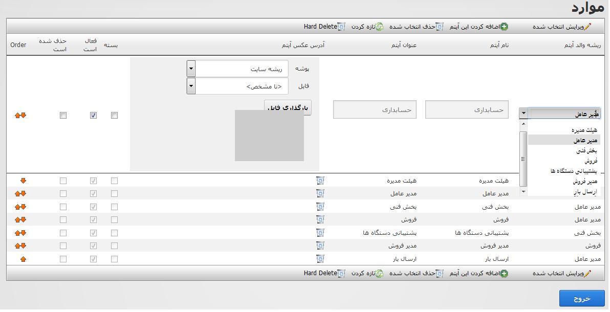 ماژول نمایش چارت سازمانی
